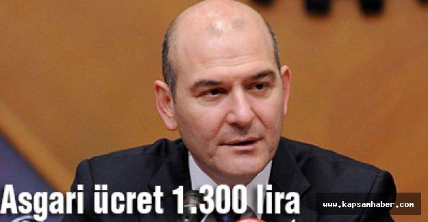 Asgari ücret 1.300 lira oldu