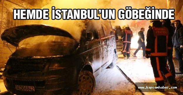 Beyoğlun'da araçlar benzin dökülerek yakıldı