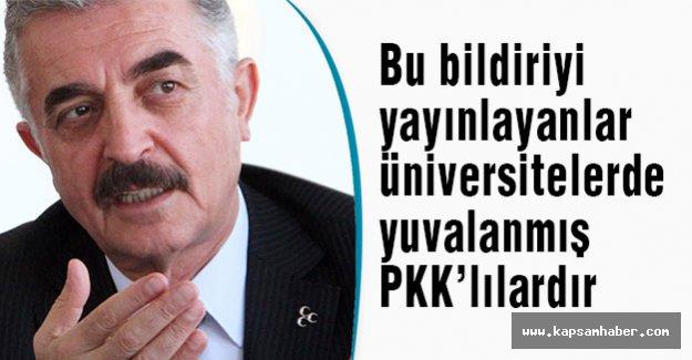 Bu bildiriyi yayınlayanlar üniversitelerde yuvalanmış PKK'lılardır