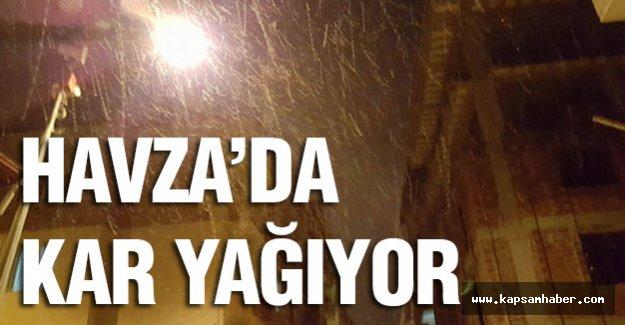 Havza'da kar yağıyor...
