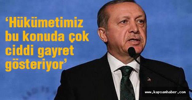 Erdoğan: Hükümetimiz bu konuda çok ciddi gayret gösteriyor