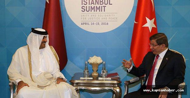 Davutoğlu Katar Emiri Al Sani ile görüştü