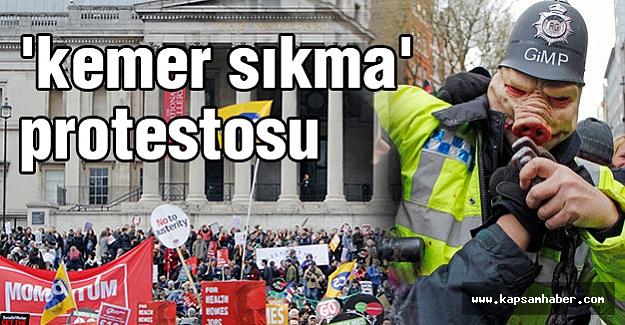 İngiltere'de 'kemer sıkma' kararını protesto etti