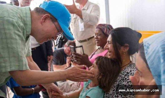 Ban Ki Moon'dan Midilli'deki göçmenlere ziyaret