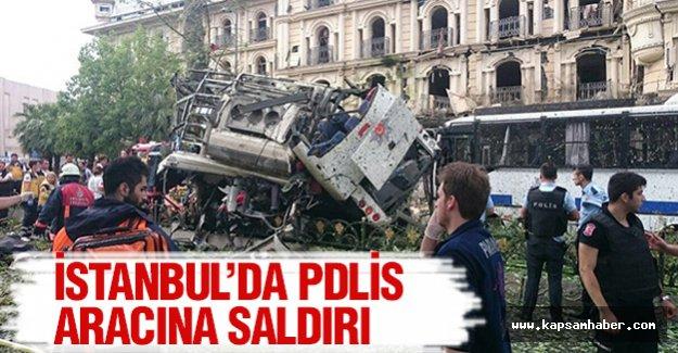 İstanbul'da polis aracına saldırı....