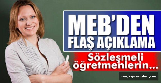 MEB'ten Flaş Sözleşmeli Öğretmen Açıklaması