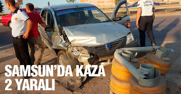 Samsun'da Otomobil bariyere çarptı