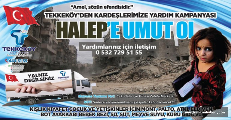 """Tekkeköy Belediyesin'den """"Halep'e umut ol"""" Kampanyası"""