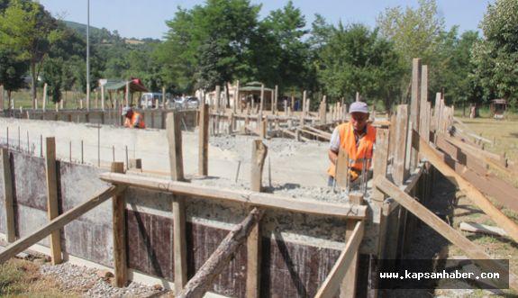 Kavak Belediyesi Yanan Tesisin Yerine Yenisini Yapıyor