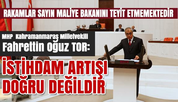 MHP'li Milletvekili Tor; İstihdam Artışı Doğru Değildir