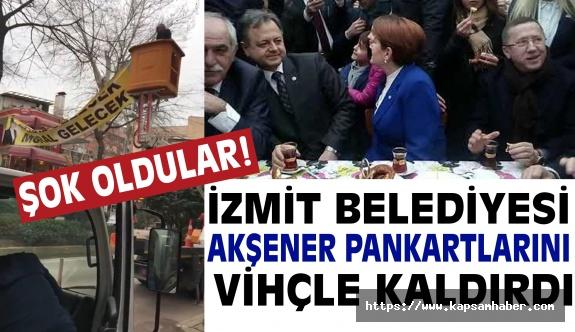 Açılış için İzmit'e Gelen Akşener'in Pankartları Kaldırıldı