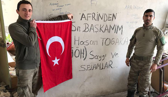 Afrin'de destan yazan askerlerden Başkan Togar'a selam