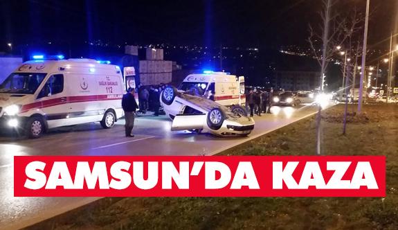 Samsun'da otomobil takla attı: Yaralılar var