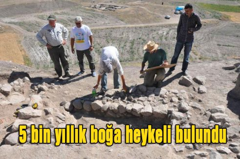 5 bin yıllık boğa heykeli bulundu