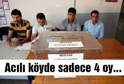 Acılı köyde sadece 4 oy...
