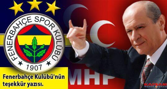 Bahçeli'ye Fenerbahçe Kulübü'nün teşekkür yazısı