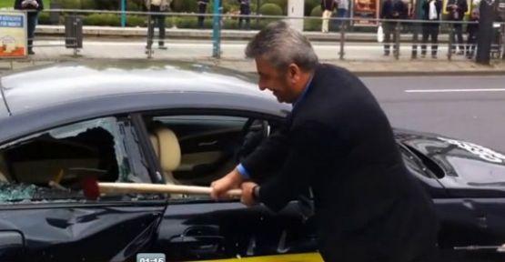 BMW'ye kızınca otomobilini parçaladı!