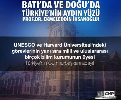 CHP'nin İhsanoğlu afişi çıktı...