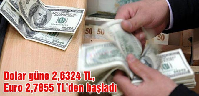 Dolar güne 2,6324 TL, Euro 2,7855 TL'den başladı