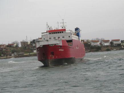 Erdek'te lodos, ro-ro gemisini karaya oturttu