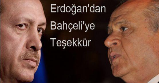 Erdoğan, Bahçeli' ye Teşekkür etti