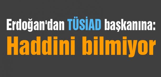Erdoğan'dan TÜSİAD Başkanına sert cevap: Haddini Bilmiyorlar