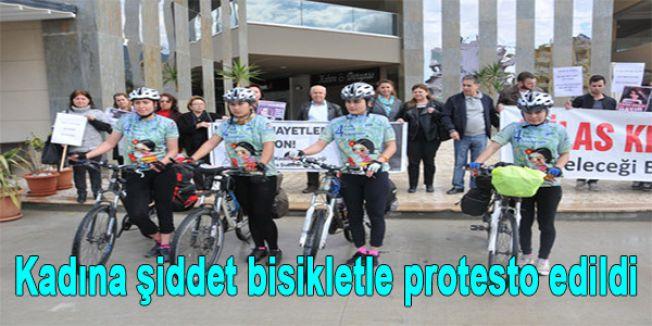 Kadına şiddet bisikletle protesto edildi