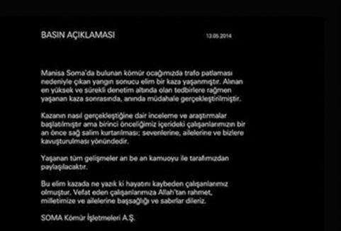 Kazadan sonra internet sitesi kapatıldı ve tek mesaj!