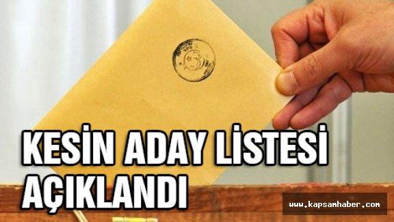 Kesin Aday Listelerini Açıklandı
