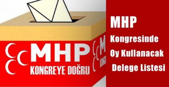 MHP Kongresinde Oy Kullanacak Delege Listesi