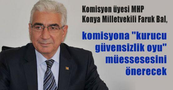MHP'li Bal, Komisyona ''Kurucu Güvensizlik Oyu'' Müessesesini Önerecek