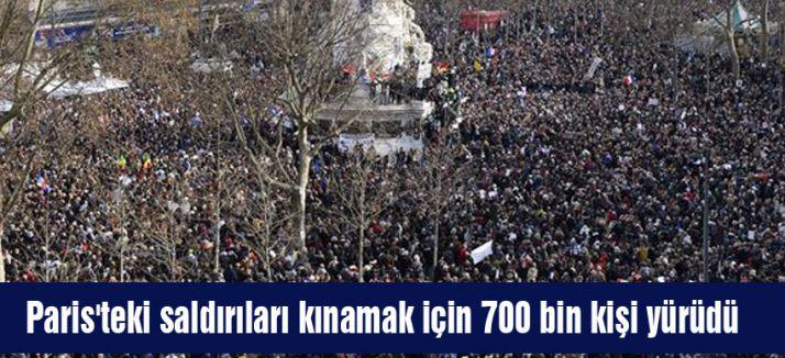 Paris'teki 700 bin kişi yürüdü