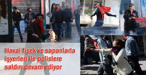 Polislere ve İşyerlerine Molotof...