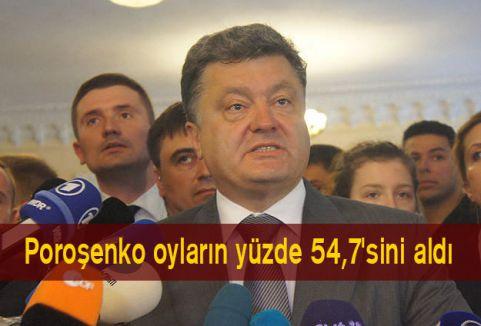 Poroşenko oyların yüzde 54,7'sini aldı