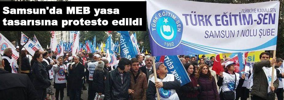 Samsun'da MEB yasa tasarısına protesto