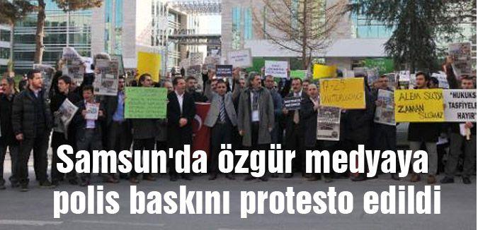 Samsun'da 'polis baskını' protesto edildi