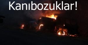 Tunceli'deüç aracı ateşe verildi