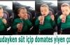 Uykudayken süt içip domates yiyen çocuk