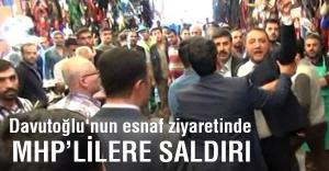 Gaziantep'te Davutoğlu'nun esnaf ziyaretinde MHP'lilere saldırı