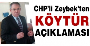 CHP'li Zeybek'ten 'KÖYTÜR' Açıklaması