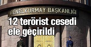 12 terörist cesedi ele geçirildi