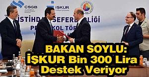 Bakan Soylu; İŞKUR Bin 300 Lira Destek Veriyor