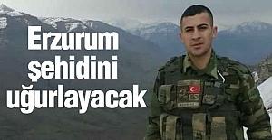 Erzurum şehidini uğurlayacak