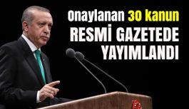 Onaylanan 30 kanun Resmi Gazete'de yayımlandı