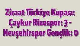 Çaykur Rizespor: 3 - Nevşehirspor Gençlik: 0