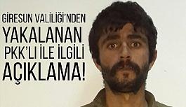 Giresun'da Yakalanan PKK'lı İle İlgili Açıklama