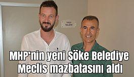 MHP'nin yeni Söke Belediye Meclis üyesi atmaz mazbatasını aldı