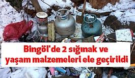 Bingöl'de 2 sığınak ve yaşam malzemeleri ele geçirildi
