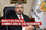 Başkan Aksu'dan Atakum'da Seçim Süreciyle İlgili Açıklama