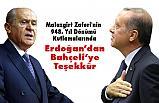 Erdoğan'dan Devlet Bahçeli'ye teşekkür